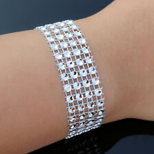 NEW Bracelet Circle Silver Bling Women Fashion Jewellery Cuff Overlay Vintage