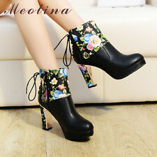 Women Platform High Heel Ankle Boots Flower Lace Up Round Toe Shoes Ladies