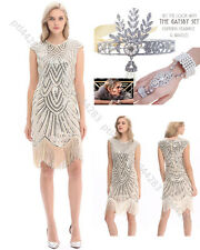 1920s Flapper Dresses Great Gatsby Sequin Beaded Fringe Dress Art Deco Plus Size