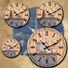 1x Home Decor Round Retro Style Wall Mounted Clock Wooden Home Decor 14inch