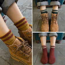 Pair Retro New Womens Girl's Vintage Wool Warm Socks Winter Striped anklet Socks
