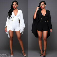 Sexy Womens V Neck Cloak Short Pants Bodycon Club Party Jumpsuit Romper Trousers