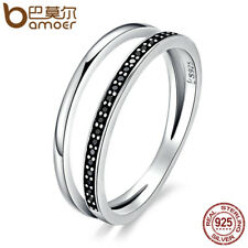 White Black Ring 925 Sterling Silver Stackable Crystal Band CZ Fashion Jewelry