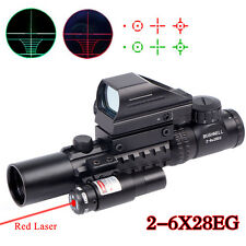 Hunting Array 2-6X28 Rifle Scope With Holographic 4 Reticle HD Sight & Red Laser