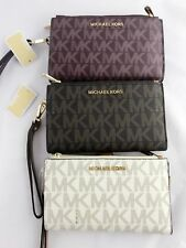 Michael Kors Jet Set Double Zip Wristlet Phone Wallet PVC Brown Vanilla Merlot S