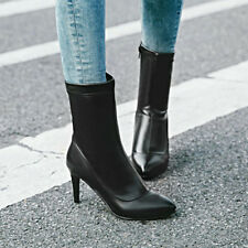 Mid-Calf Boots Women Pointed Toe High Heel Stilettos Zipper Winter Shoes Black