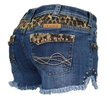 Cowgirl Tuff Women's Cheetah Shorts Leopard Print Denim Shorts Med Wash SHCHEE