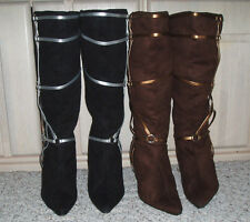 RASOLLI Knee High Faux Suede Strappy Fashion Boots~Black or Brown~Size 8