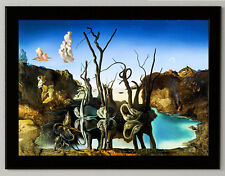 "Salvador Dali ""Swans reflecting..."" canvas print, framed, giclee 6.8X8.8&10X13,6"