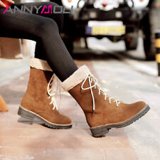 Women Lace Up Low Heel Boots Velvet Round Toe Sewing Winter Shoes Ladies