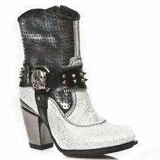 New Rock Womens M.TX005-C2 White Blue-Blk Leather Boots - Goth,Punk,Shoes - [SO]