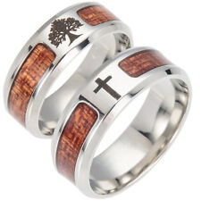 Men Wood Inlaid Stainless Steel Finger Ring Jewelry Wedding Band Ring Advanced