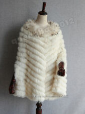New! 100% Real Knitted Rabbit Fur Poncho Cape Raccoon Trim Collar Stole Coat