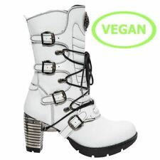 New Rock Womens M.TR003-V4 White Vegan Leather Boots - Punk,Gothic,Shoes - [SO]