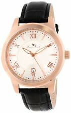 Lucien Piccard LP-10046-RG-02S Mens White Textured Dial Black Leather Watch