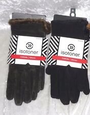 Isotoner Womens Gloves Leather Suede Microluxe Lining Solid size M L NEW
