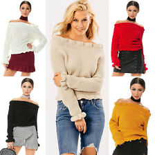New Womens Ladies Knitted Off Shoulder Ruffle Frill Hem Jumper Long Sleeve Top