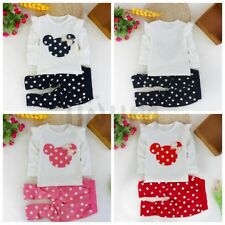 2Pcs Minnie Mouse Baby Girl Top T Shirt+Pants Kid Polka Dot Dress Outfit Clothes