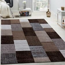 Modern Rug Design New Small Large Mats Checked Soft Quality Rugs Carpets Brown