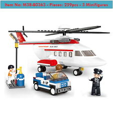 Hélicoptère -Private Helicopter-259p-3figures-DIY Kid Toys-bUILDING BLOCKS