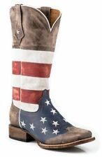 Roper Womens Americana Brown Collection American Flag Square Toe Leather Cowboy