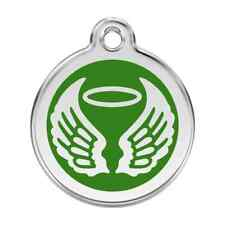 Angel Wings Green Pet Dog Cat ID Tag Personalised Engraved Steel Tags Dingo