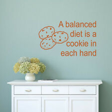 A Balanced diet is a cookie wall quote phrase vinyl decal wall word art sticker