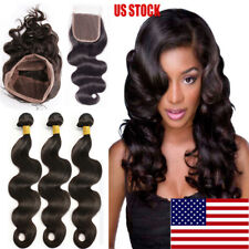 Pre Plucked Lace Closure with Baby Hair 7A Virgin Human Hair 1/3 Bundle Weave US