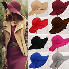 Womens Vintage Fashion Wide Brim Floppy Warm Wool Felt Bowler Fedora Hat Cap