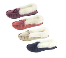 Genuine Suede Moccasin Slippers Sizes 3 - 8 Ladies Pink Plum Navy Beige UK Made