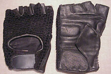 MENS LEATHER/MESH BLACK LEATHER MOTORCYCLE BIKER RIDING GLOVES - NEW