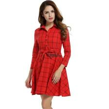 Women Lapel 3/4 Sleeve Plaid Belted Casual Swing Shirt Dress HYFG