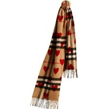 NEW BURBERRY KIDS UNISEX HEART CHECK CASHMERE SCARF