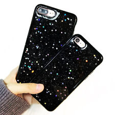 Black TPU Rubber Gel Stars Holographic Case Cover Sparkle Shiny Glitter iPhone