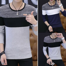 Round Neck Shirts  Men's Long Sleeve Blouse T-shirt Casual Slim Fit Tee Tops