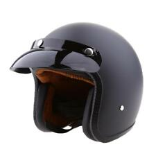 Flat Black Open Face Retro Vintage Style 3/4 Motorcycle Scooter Helmet