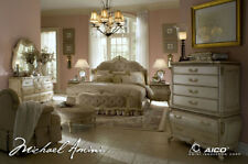 AICO Furniture - Lavelle Blanc 4 Piece Queen Wing Mansion Bedroom Set - 54000QNW