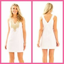 New Lilly Pulitzer LARGO SHIFT DRESS Resort White Embroidered Gold 10 14