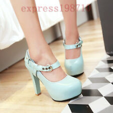 Women New Mary Jane Round Toe Block High Heel Platform Party Dress Shoes Plus Sz