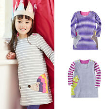 Cute Animal Cartoon Kid Girls Striped Long Sleeve Tunic Tank T Shirt Top Dress