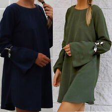 Long Sleeve  O-Neck Loose Casual Cocktail Party Women Ladies Backless Midi Dress