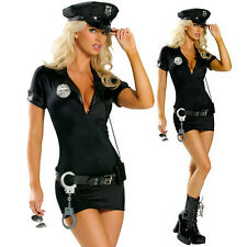 Womens Police Cop Officer Costume Role Play Fancy Dress Halloween Party Outfit