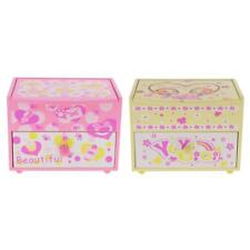 Wooden Jewelry Ring Earring Box Storage Case Drawer Mirror Kids Pretend Play