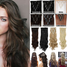 Real Full Head Clip in Hair Extensions 8PCS 18Clips Real Long Natural Hair Piece
