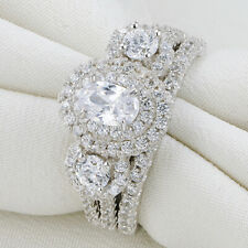 Three Stone White CZ 925 Sterling Silver Engagement Wedding Ring Set Size 5-10