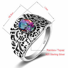 Ring Mystic topaz 925 Solid Sterling Silver Victorian Style Handmade Rainbow Gem