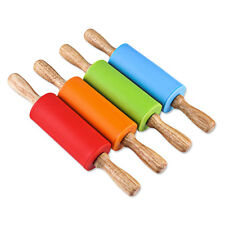 22cm Silicone Length Non-stick Rolling Pin With Wood Handle Kitchen Tool For Kid