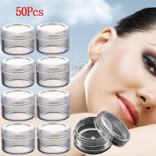 50Pcs Clear Plastic Empty Cosmetic Tool Sample Containers Jars Pots Small 3g