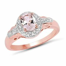 Genuine Oval Morganite and White Topaz Ring in Sterling Silver