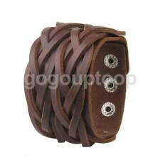 Wide Punk Style Braided  Leather Bracelet Men's Wrap Wristband Buckle Bangle